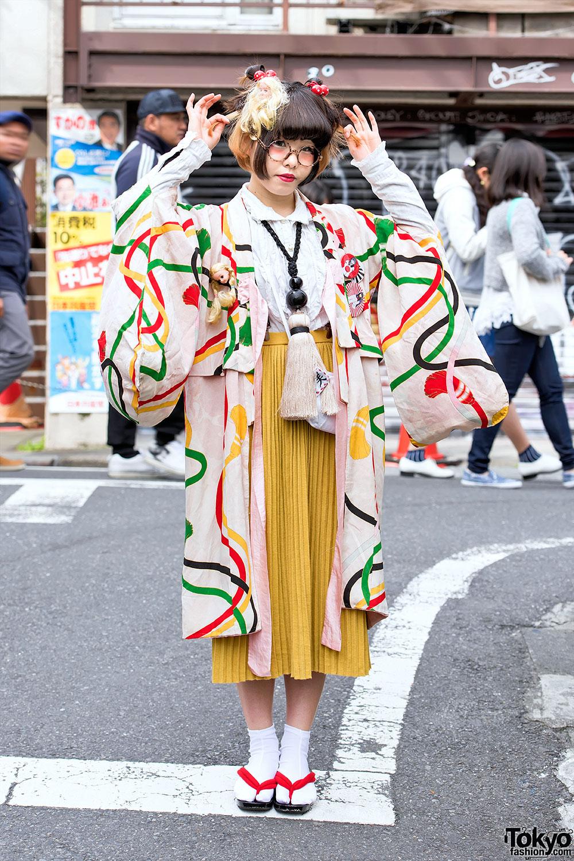 Kimono Doll Heads Giant Tassel Necklace In Harajuku