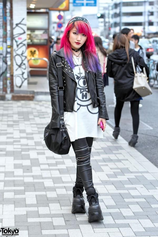 Pink Purple Dip Dye, Leather Jacket, Zipper Pants & Demonia in Harajuku