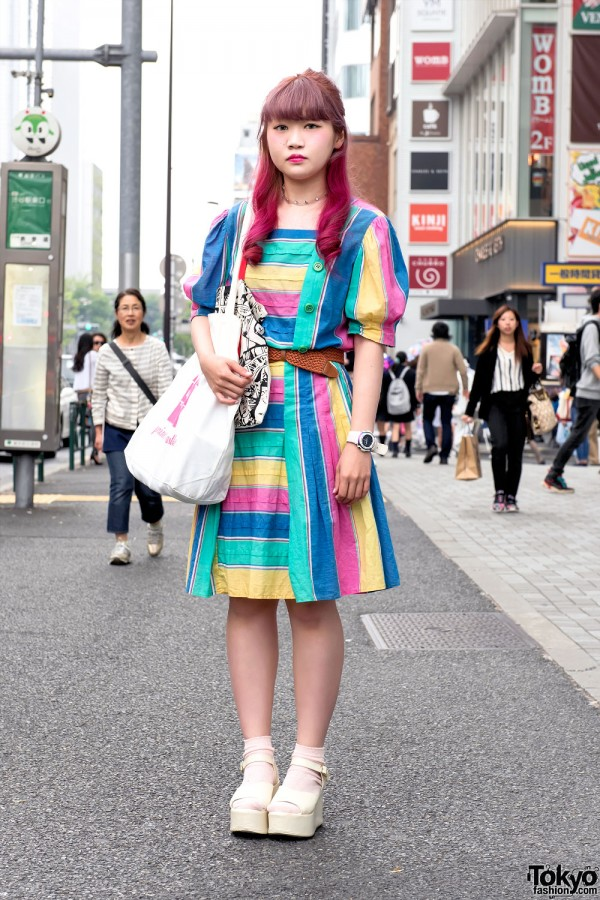 Rainbow Dress, Princess Castle Tote & WEGO Platform Sandals in Harajuku