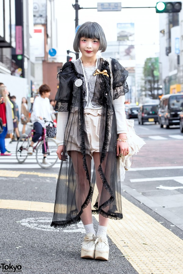 Pastel Bob Hair, Vintage Fashion, Gunifuni Teddy Bear Bag & Tokyo Bopper