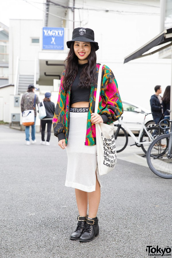 Fig & Viper Crop Top, Stussy Skirt & Ankle Boots in Harajuku