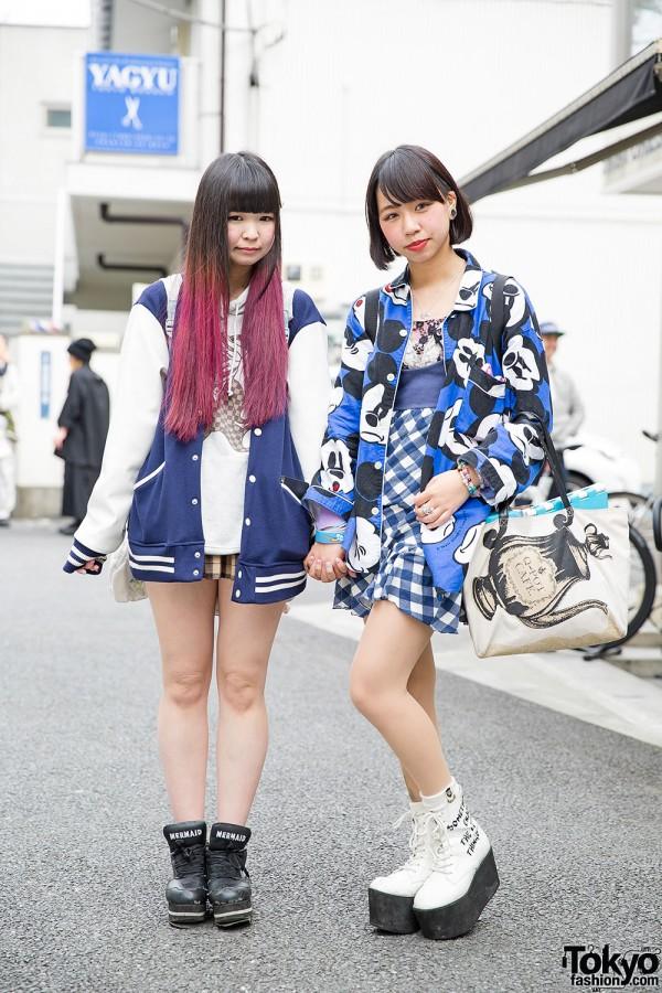 Harajuku Girls w/ Dip Dye, Mickey Mouse, Stadium Jacket & Platforms