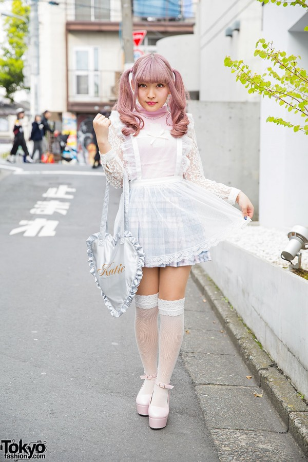 Lilac Twin Tails, KOKOkim Sheer Apron, Katie Heart Bag & Bubbles in Harajuku