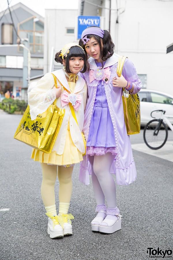 Harajuku Girls w/ Johnny's WEST Bags, Cute Plush Backpacks & San-biki no Koneko Fashion