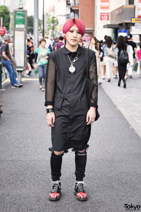 Pink-Haired Harajuku Guy in Comme Des Garcons & Chrome Hearts