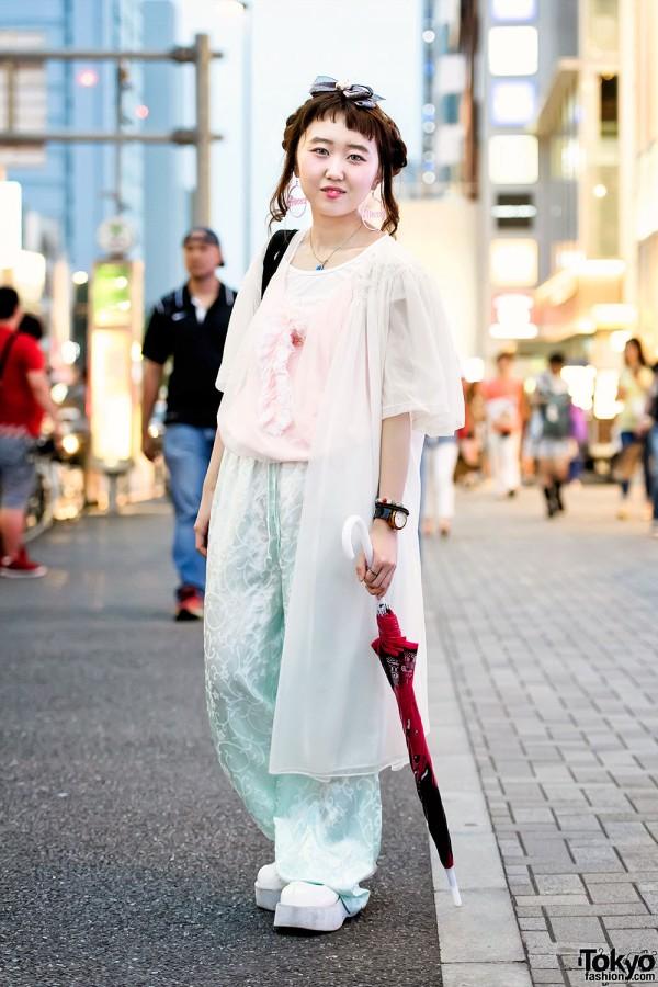 Vintage-Loving Harajuku Girl w/ Princess Earrings & Mouse Rabbit Tote Bag