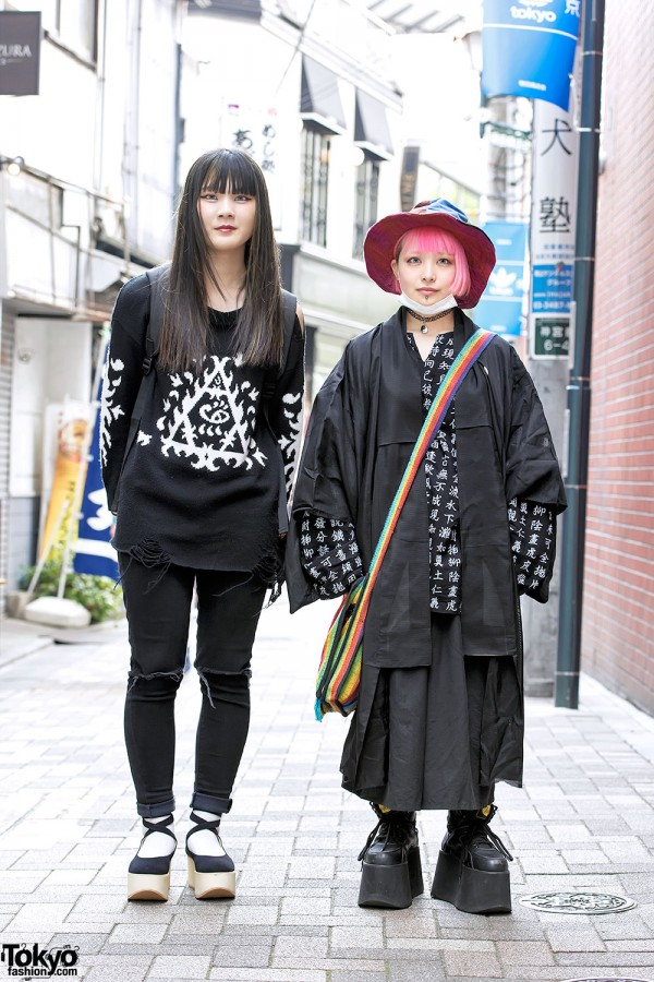 Harajuku Girls in Black w/ Kanji Print, Tokyo Bopper, HonwakaPappa & Mugendo