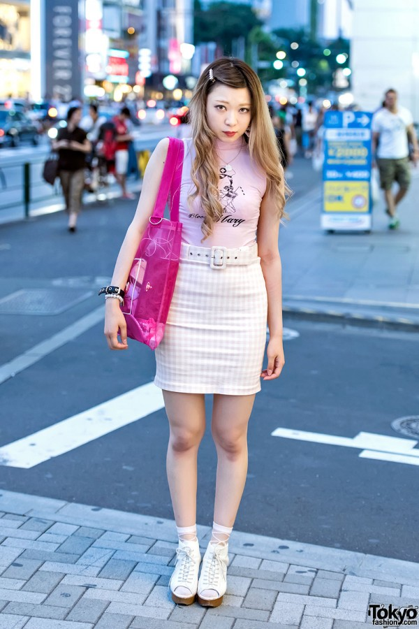 Katie Sleeveless T-Shirt, Gingham Mini-Skirt & Opening Ceremony Bag in Harajuku