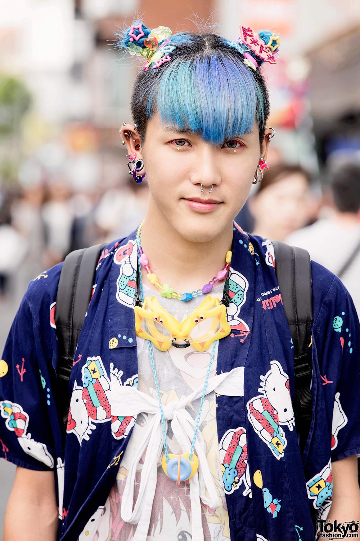 Harajuku Guy W Blue Green Hair Piercings Hello Kitty