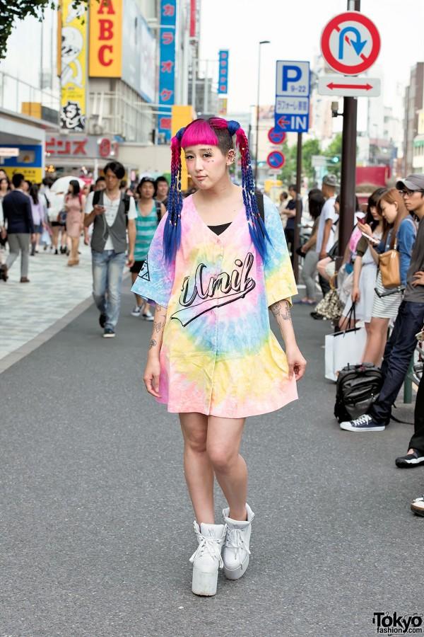 Pink-Blue Braids, Piercings, Tattoos, UNIF Tie Dye & YRU in Harajuku