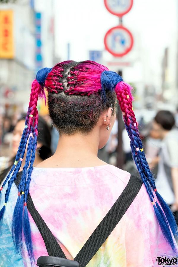 Pink Blue Braids Piercings Tattoos Unif Tie Dye Amp Yru
