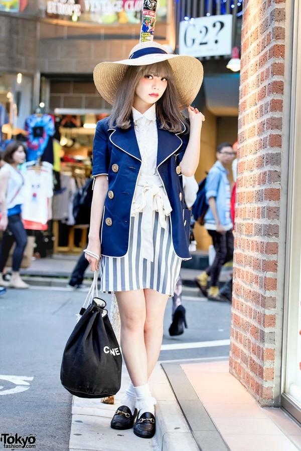 Swankiss Saaya in Harajuku w/ Wide Brim Hat, Kinji Blazer & Chanel Bag