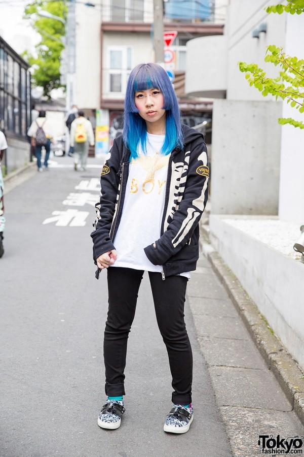 Harajuku Girl w/ Blue Hair, Piercings, Boy London Tee, Vanson Hoodie & MARQUI Slip-Ons