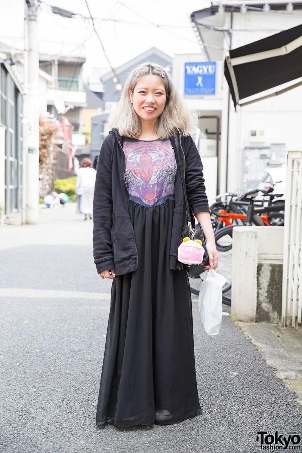 Anna Sui Tiger Maxi Dress & Canvas Sneakers in Harajuku