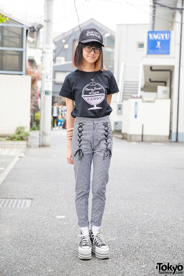 Candy Stripper Gingham Lace Up Pants & Suicidal Tendencies Cap in Harajuku
