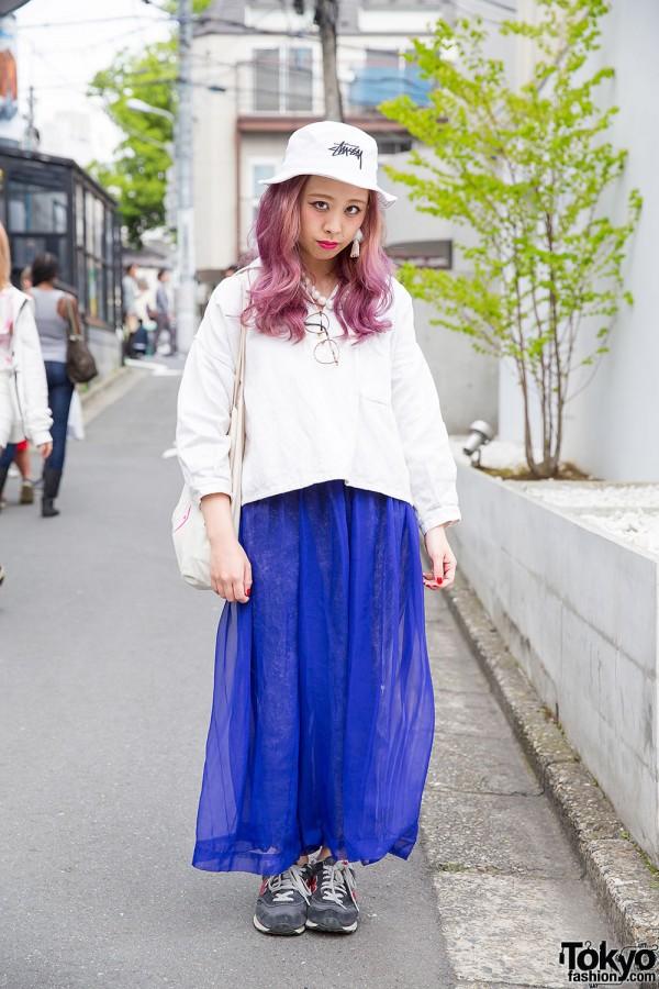 Lilac-Haired Harajuku Girl in Flamingo Resale Fashion, Stussy Bucket Hat & New Balance