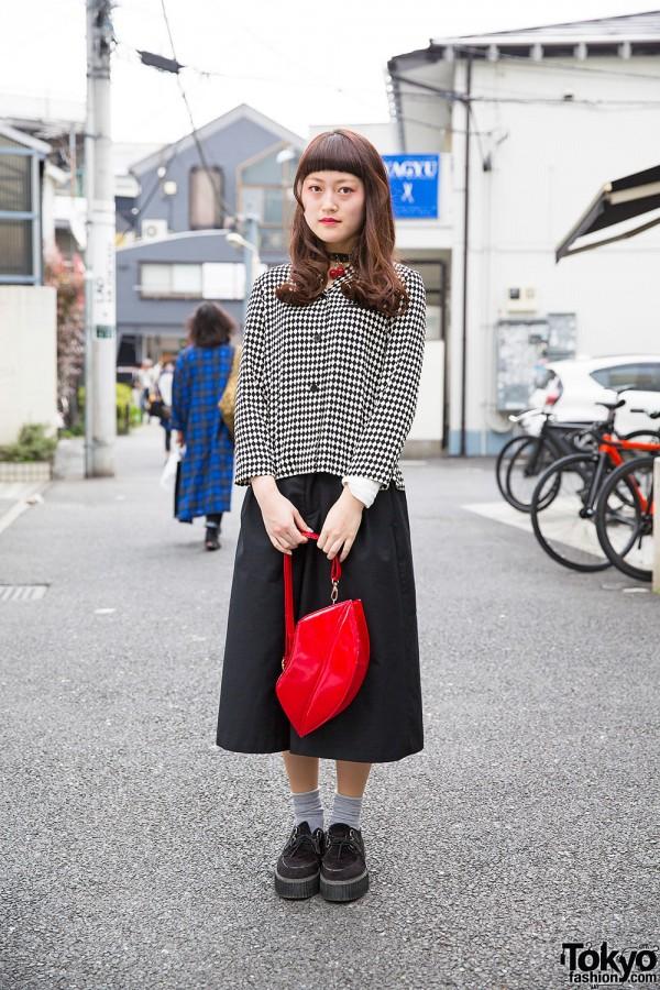 Harajuku Girl in Black & White w/ Lips Purse, Cherry Choker & Creepers