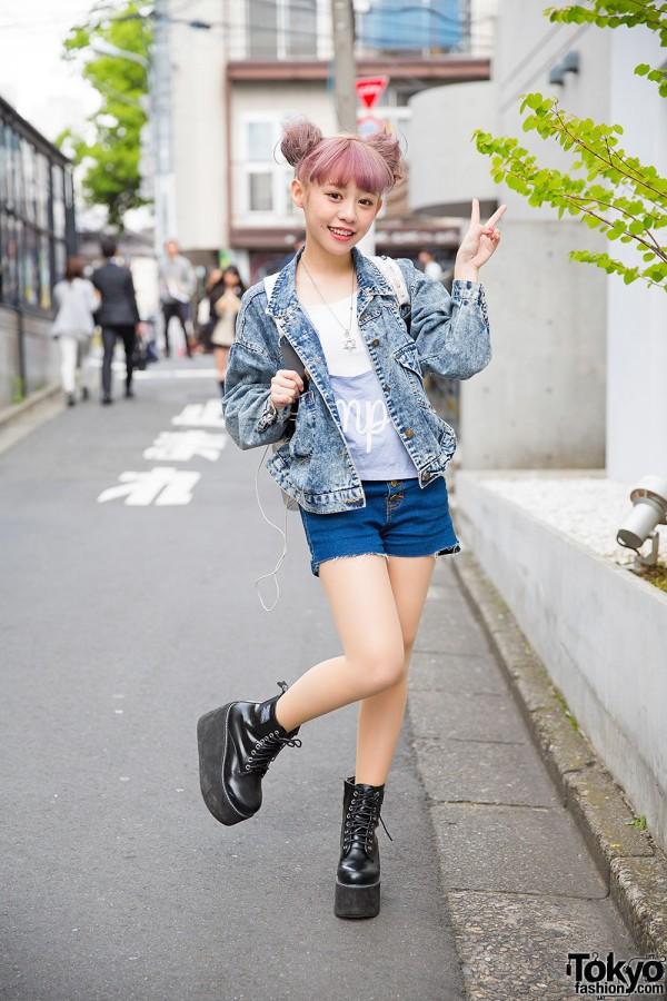 Taiwanese Model Kimi in Harajuku w/ Lilac Hair, Denim Jacket & Platforms