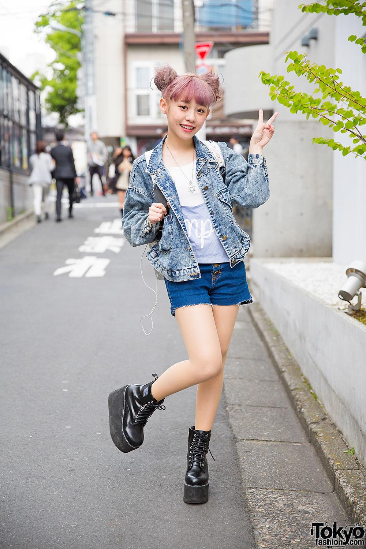 Taiwanese Model Kimi In Harajuku W Lilac Hair Denim Jacket Platforms