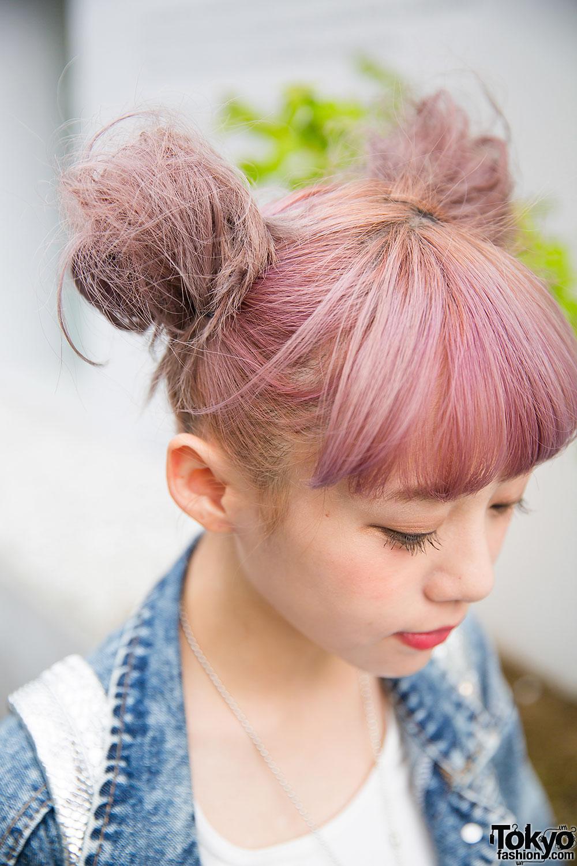 Taiwanese Model Kimi In Harajuku W Lilac Hair Denim