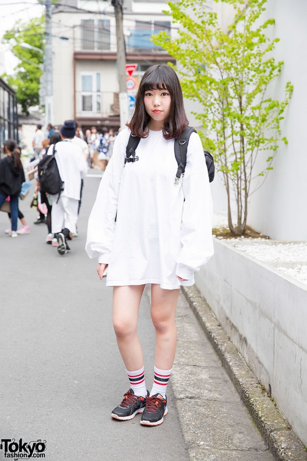 Harajuku Girl in Oversized Spinns Sweatshirt, Nike Sneakers & Backpack