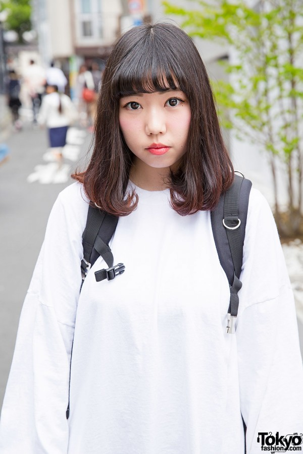 White Oversized Sweatshirt in Harajuku