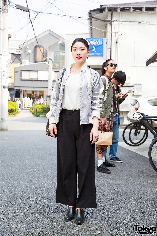 bee513965cff Harajuku Girl in Wide Leg Pants w  Bucket Bag   Ankle Boots