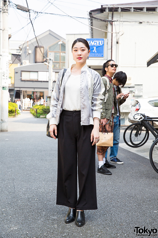 Harajuku Girl In Wide Leg Pants W Bucket Bag Amp Ankle Boots