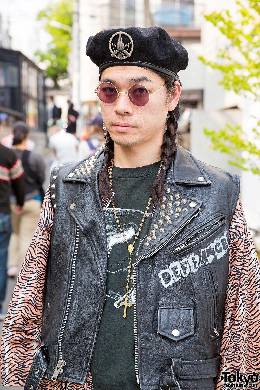 Punk Cake Harajuku S Kinji In Vintage Biker Vest Beret