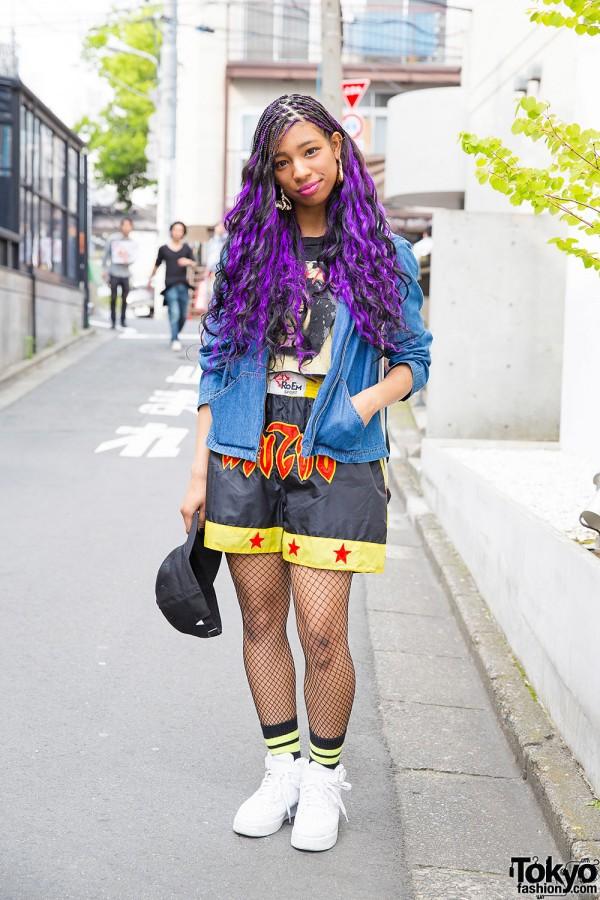 Harajuku Girl w/ Purple Hair, Pin Nap Fashion, Nike & Fishnets