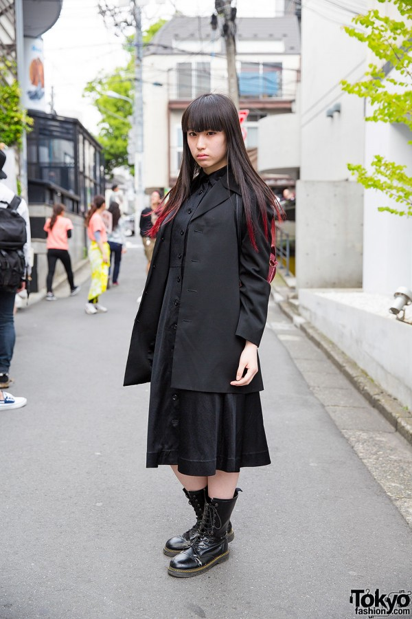 Harajuku Girl in All Black w/ Dip Dye Hair & Yohji Yamamoto Coat