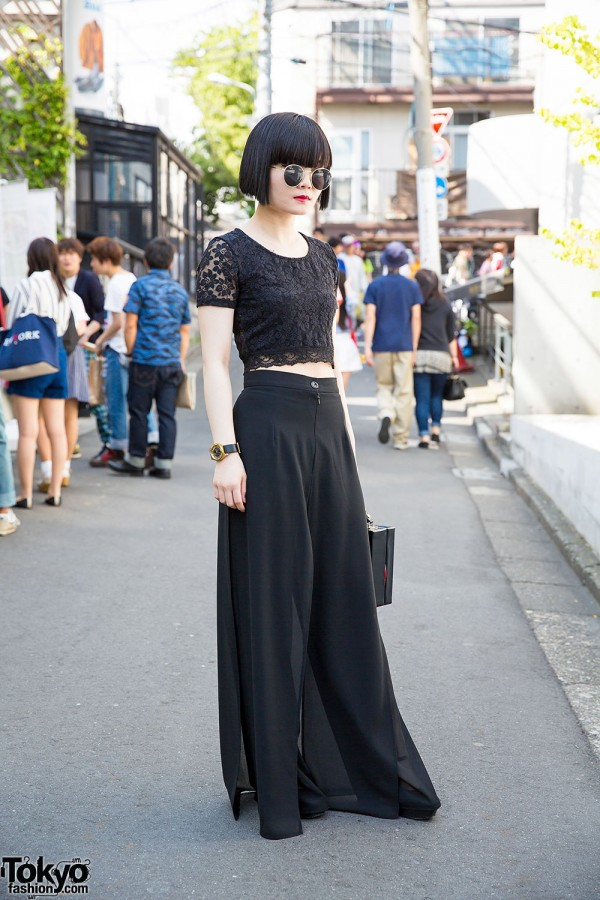All Black Fashion w/ Nadia Harajuku Culottes, Box Bag & Marc by Marc Jacobs