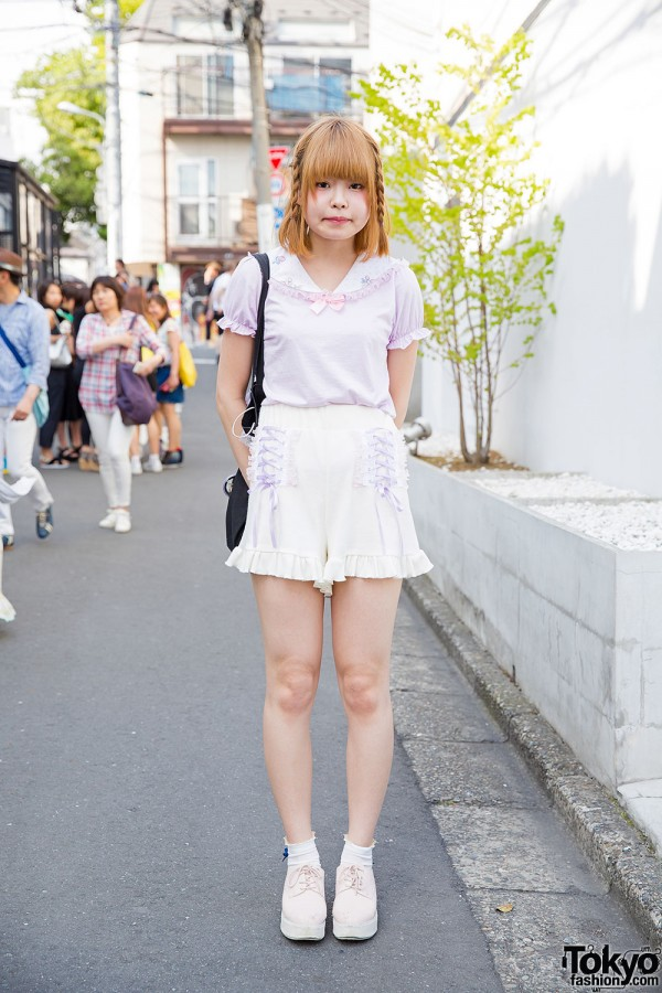 Harajuku Girl in Nile Perch & Nice Claup Pastels, Strawberry Print & Braids