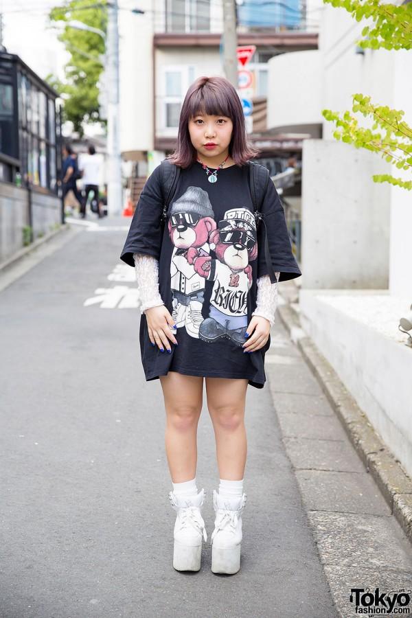 Harajuku Girl in Joyrich T-Shirt, North Face Rucksack & YRU Flatforms