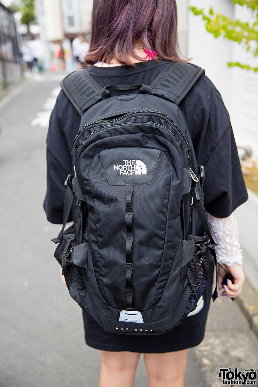 Harajuku Girl in Joyrich T-Shirt, North Face Rucksack ...