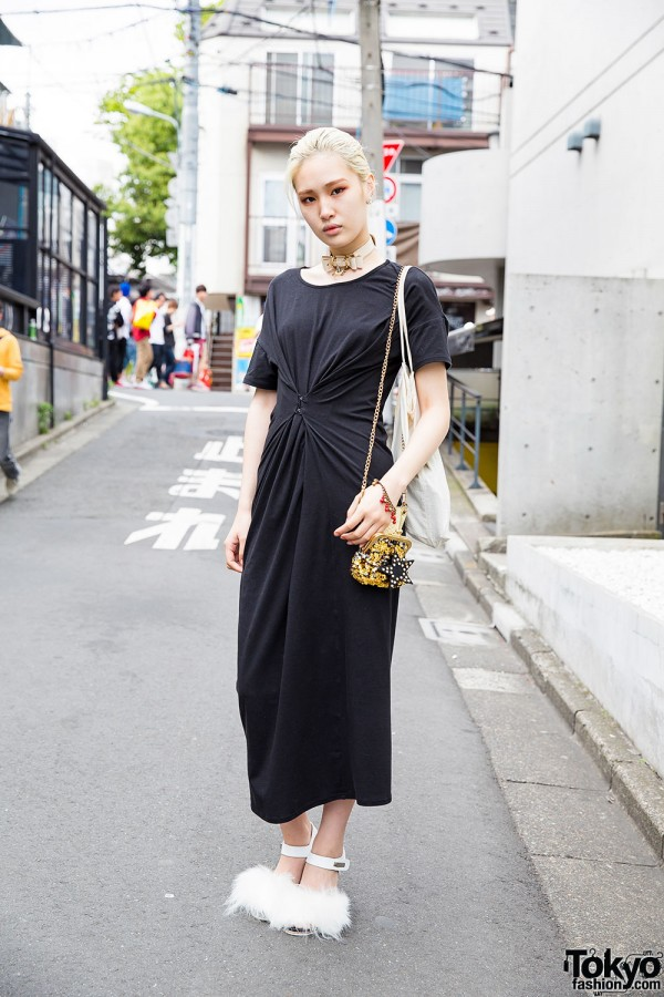 Fashion Student in Black Maxi Dress, Spike Bow Choker & Furry Sandals