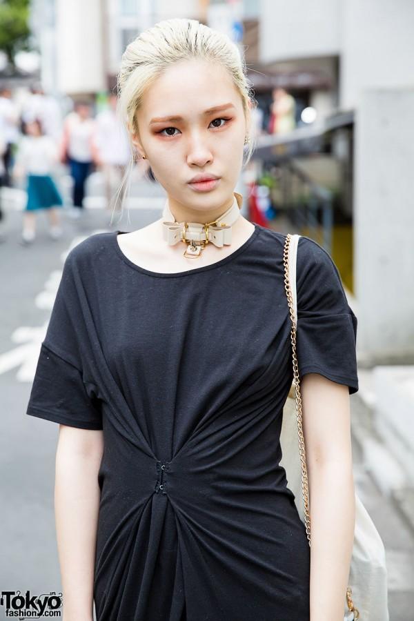 Black Dress & Red Eye Makeup in Harajuku