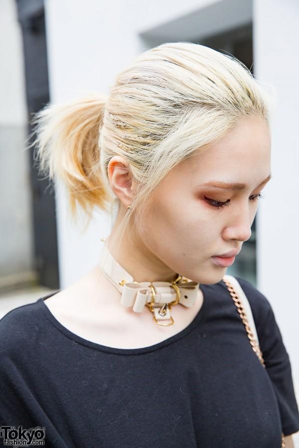 Blonde Harajuku Girl with Choker