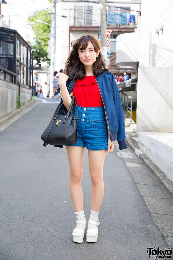 Harajuku Girl in High Waist Denim & Platform Sandals with Socks