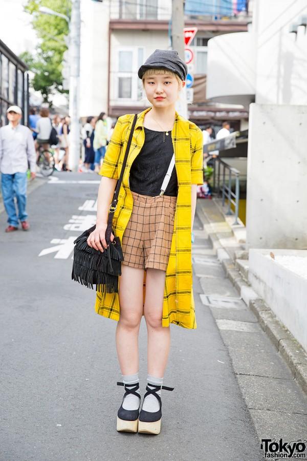 Short-Haired Harajuku Girl w/ Suspender Shorts, CA4LA Cap & Tokyo Bopper Shoes
