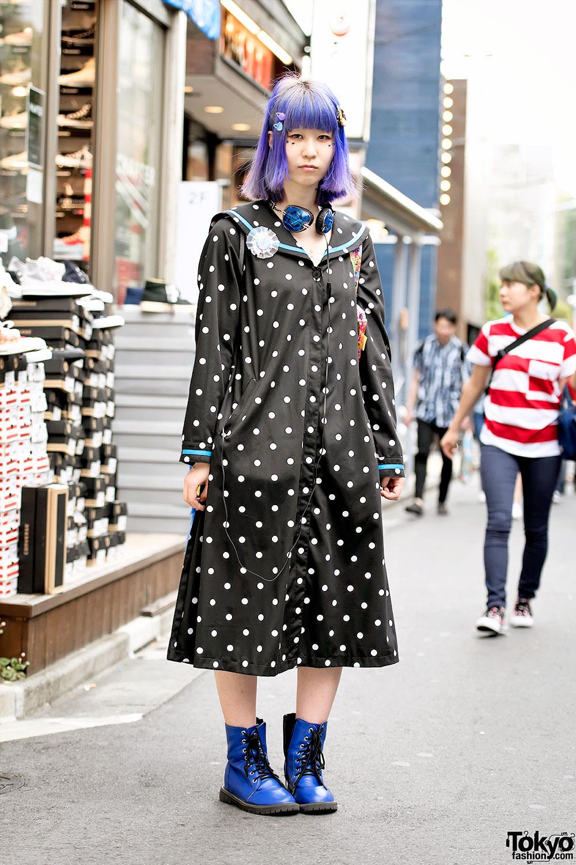 Polka Dot Sailor Dress, Purple Hair & 6%DOKIDOKI Bag in Harajuku