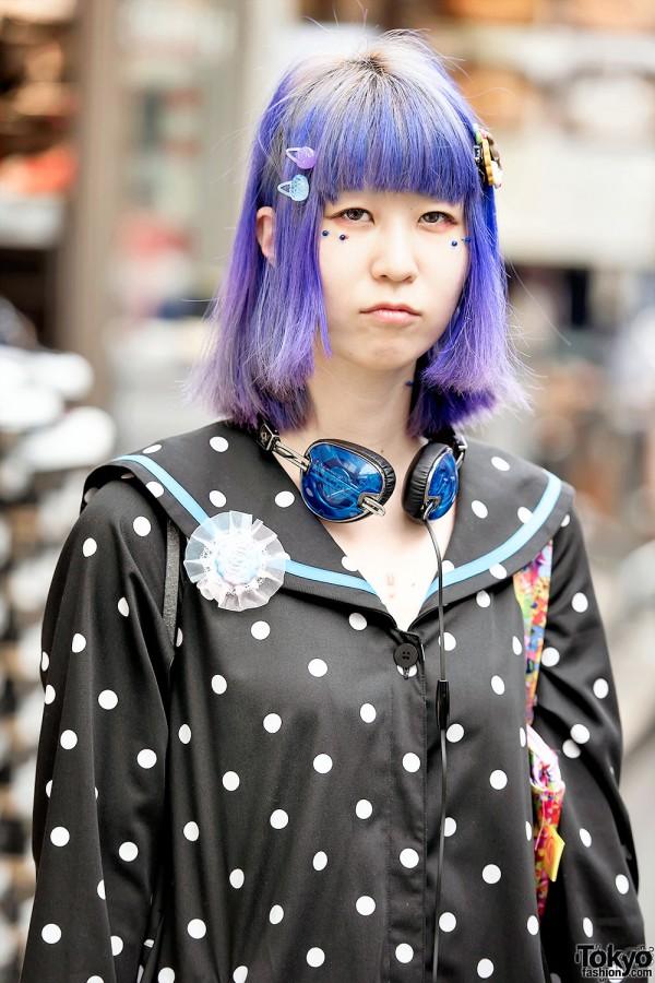 Purple Hair Candy Stripper Harajuku Style Tokyo Fashion