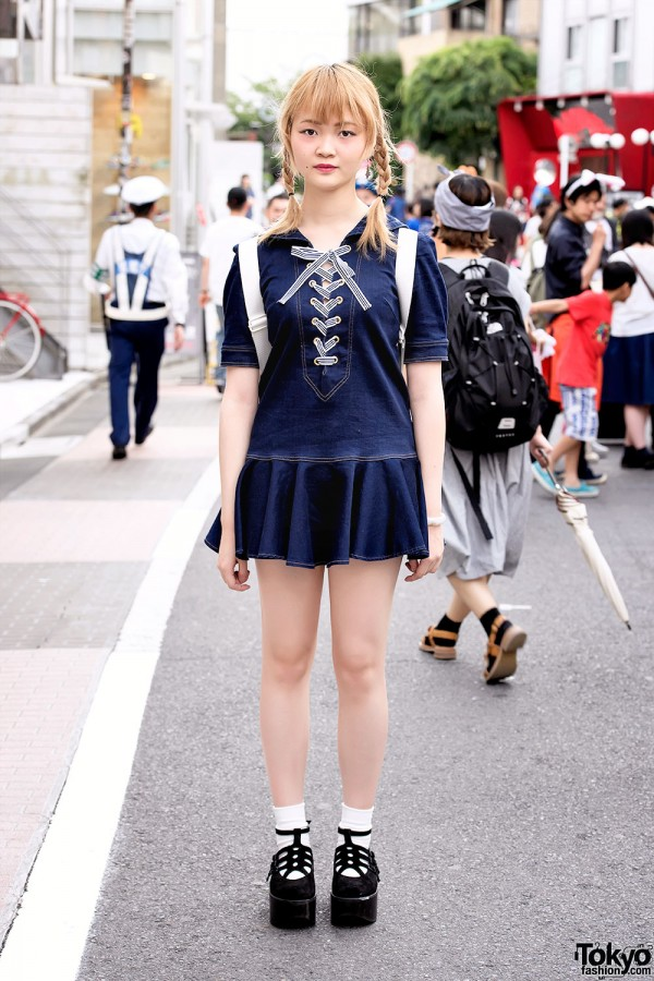 Denim Mini Dress, Twintails & Tokyo Bopper Shoes in Harajuku