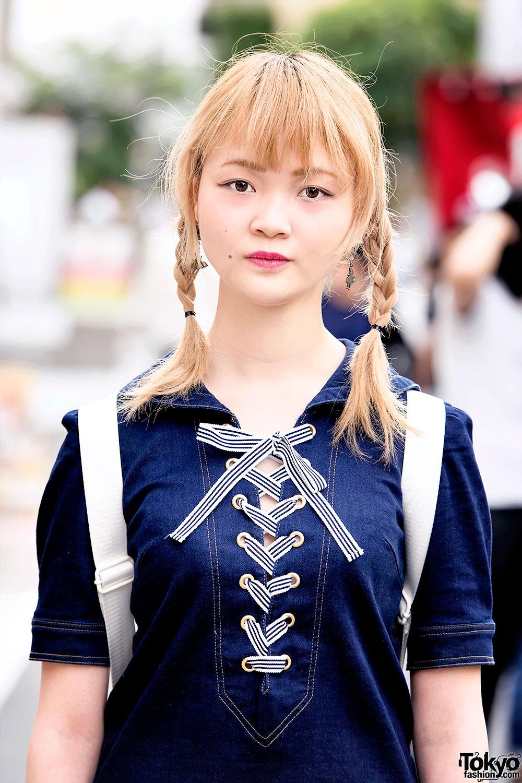 Denim Mini Dress Twintails Amp Tokyo Bopper Shoes In Harajuku
