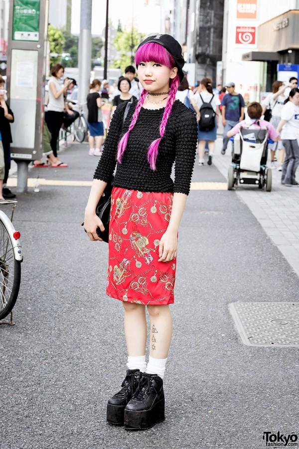 Harajuku Girl w/ Pink Hair, Kinji Popcorn Shirt, YRU Platforms & MCM Bag