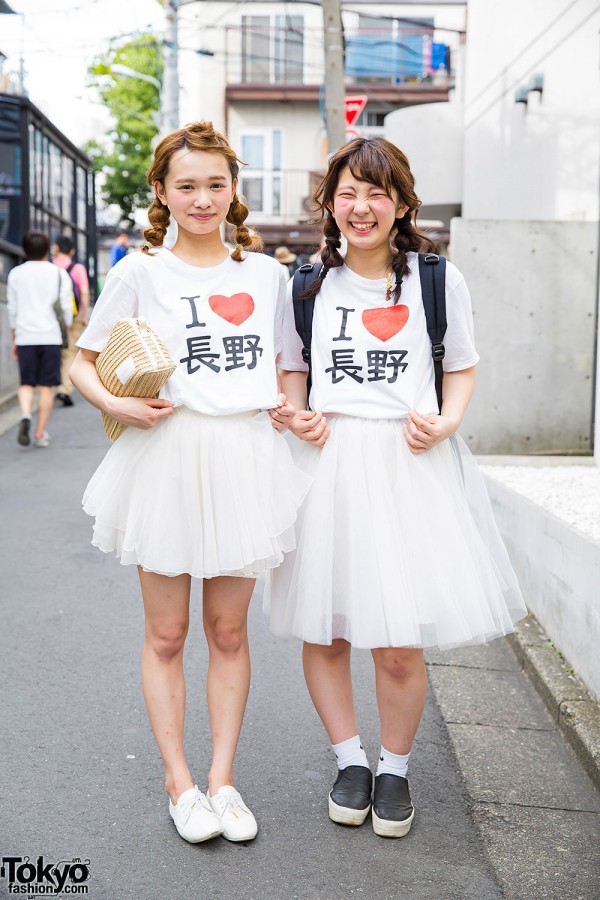 """I Love Nagano"" Pair Look Girls on the Street in Harajuku"
