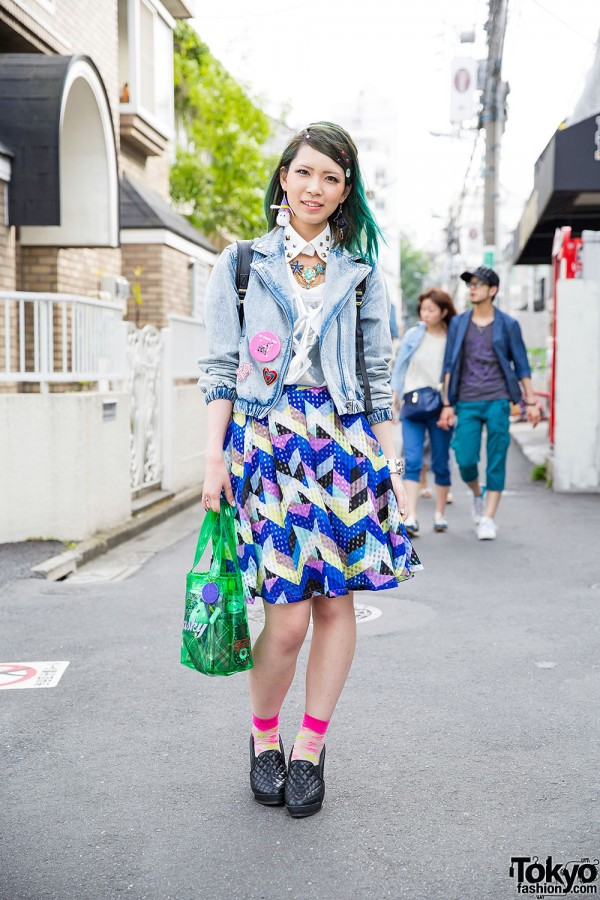 Harajuku Girl w/ Green Hair, Murua Denim Jacket, Kikka Skirt & Evangelion Bag