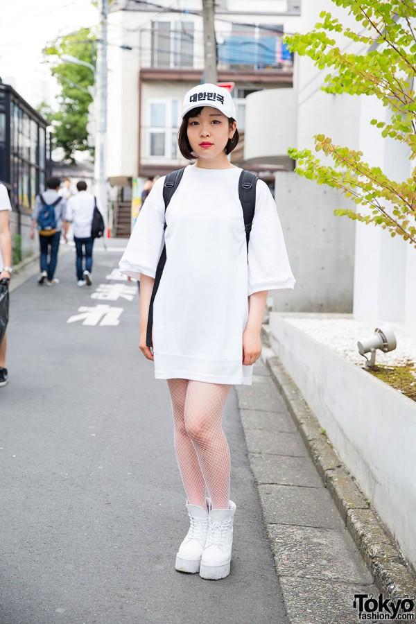 Harajuku Girl in Oversized Shirt Dress w/ Cap, Harajuku Alta Boots & Backpack
