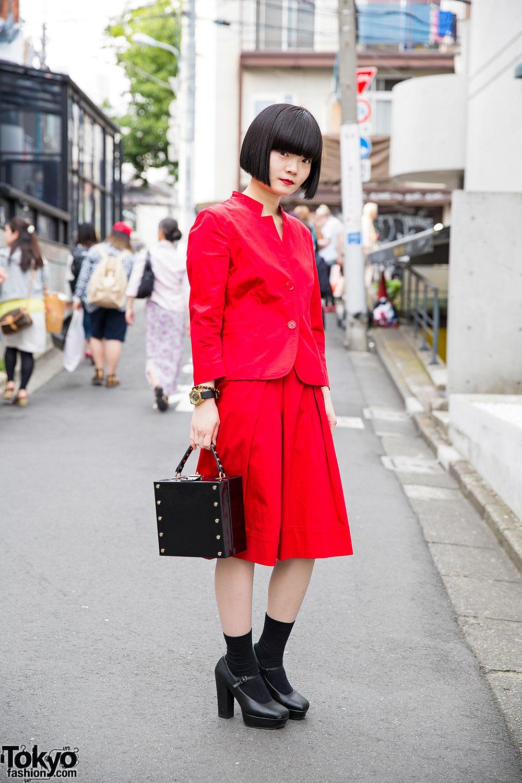 Harajuku Girl W Red Suit Moussy Box Handbag Mary Janes Bob Hairstyle