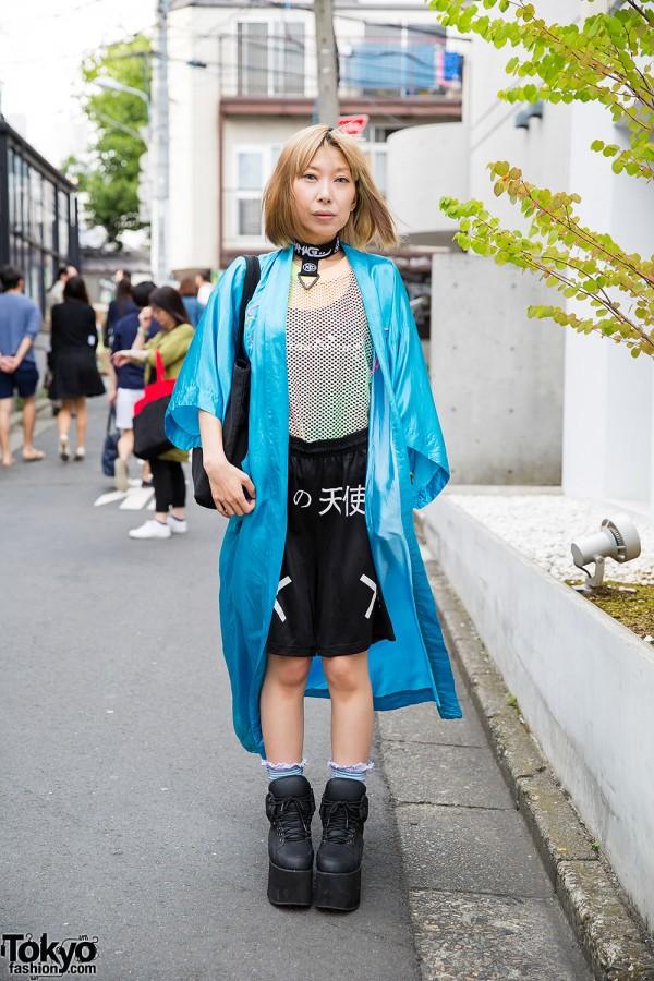 Harajuku Girl in Funktique, Nadia & DVMAGE w/ Dragon Jacket, Flatforms & Choker